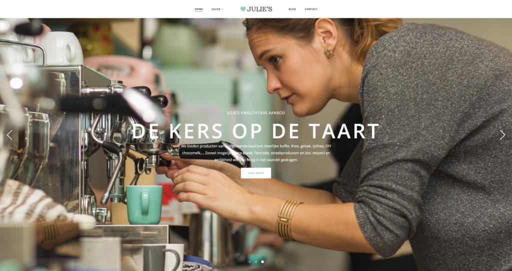 Website bouw en sfeervideo voor espressobar Julie's te geel