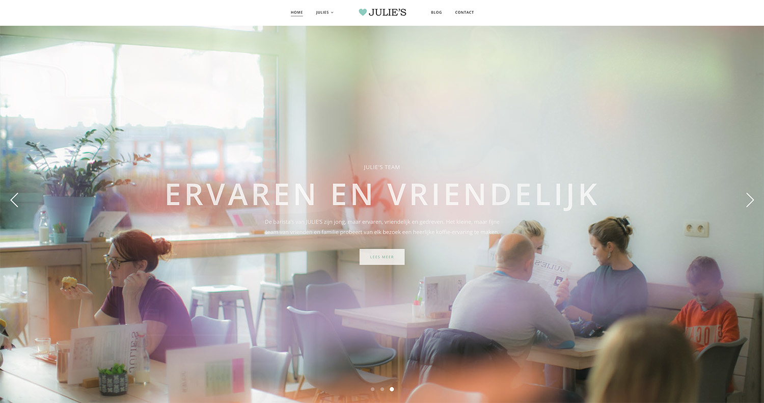 Screenshot van website Julies te geel - Weboplossingen