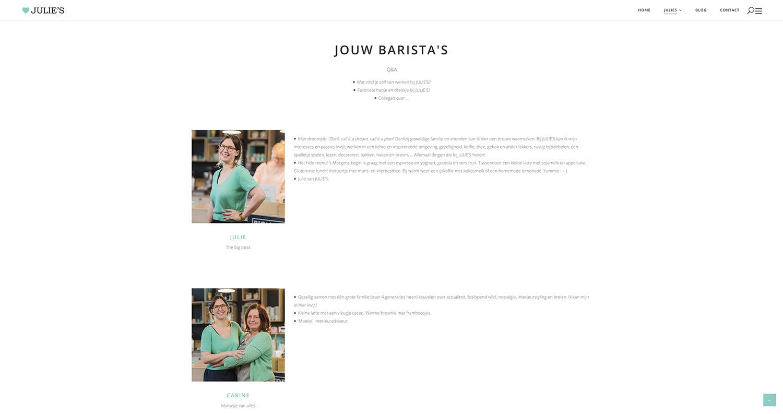 Screenshot van website Julies te geel - Weboplossingen
